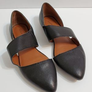 Lucky Brand Madyson Black Leather D'Orsay Flats, 7